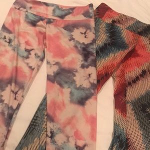 Two pairs of Onzie yoga pants